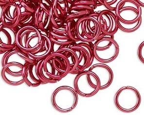 Biegeringe, Schmuckösen, 8 mm, rot, offen, Aluminium, 50 Stk.
