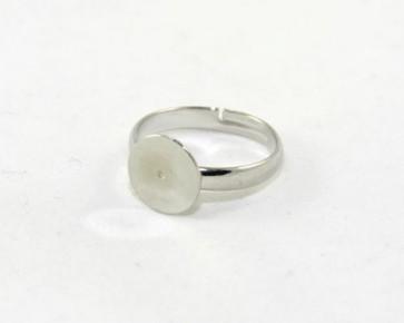 Ring-Rohlinge für Cabochons, verstellbar, platinfarbig, Platte 10mm, 5 Rohlinge
