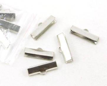 Bandklemmen für Schmuck, Quetschklemmen für Bänder, platin, 20x5mm, 20 Stk.