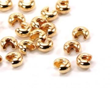 Quetschperlen Abdeckperlen, Kaschierperlen, goldfarbig, 4 mm, 20 Stk.