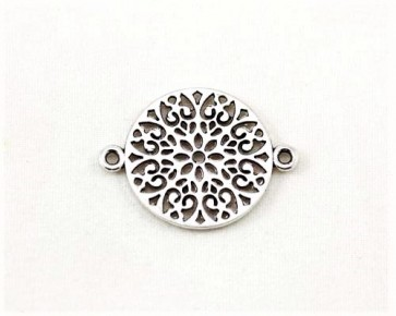 Schmuck-Verbinder, Metallzwischenteil, orientalische Blume, antik silberfarbig, 24x18mm