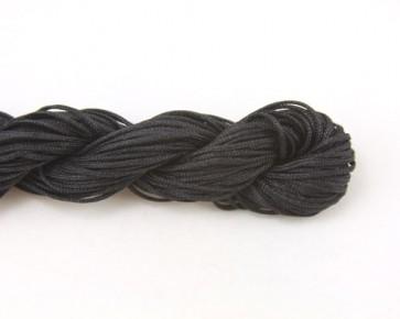 Nylonschnur, Nylonfaden, Nylonkordel 1mm geflochten, schwarz, 28m