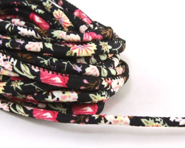 Schmuckkordel, Baumwollkordel, 6-7mm, genäht / geseppt, schwarz mit Blumenmuster, Meterware