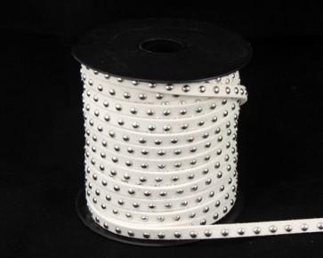 Schmuckband Meterware, Wildlederband Imitation für Nietenarmbänder, weiss, 5 mm, 1m