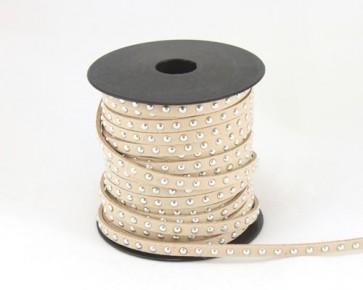 Schmuckband Meterware, Wildlederband Imitation für Nietenarmbänder, creme beige hell-braun, 5 mm, 1m