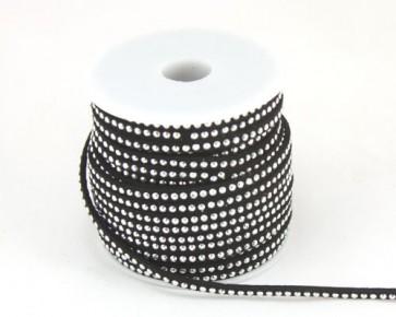Schmuckband Meterware, Wildlederband Imitation für Nietenarmbänder, schwarz, 3 mm, 1m