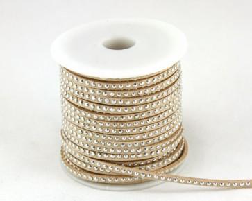 Schmuckband Meterware, Wildlederband Imitation für Nietenarmbänder, hellbraun - beige, 3 mm, 1m