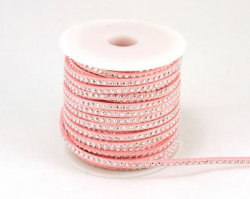 Schmuckband Meterware, Wildlederband Imitation für Nietenarmbänder, rosa, 3 mm, 1m