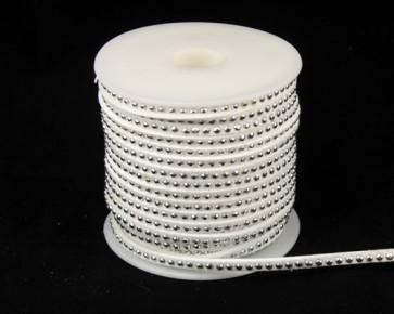 Schmuckband Meterware, Wildlederband Imitation für Nietenarmbänder, weiss, 3 mm, 1m