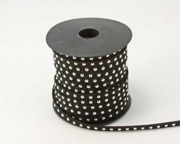 Schmuckband Meterware, Wildlederband Imitation für Nietenarmbänder, schwarz, 5 mm, 1m