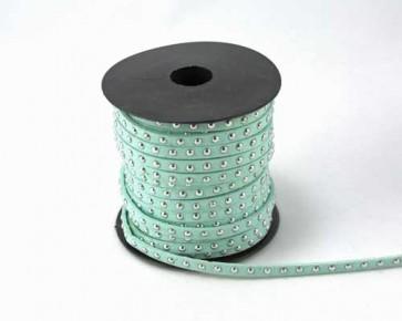 Schmuckband Meterware, Wildlederband Imitation für Nietenarmbänder, hell-türkis, 5 mm, 1m