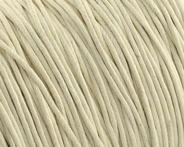 Gewachste Baumwollkordeln, Schmuckkordeln, Wachsbänder, 1 mm, creme-weiss