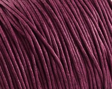 Gewachste Baumwollkordeln, Schmuckkordeln, Wachsbänder, 1 mm, weinrot magenta