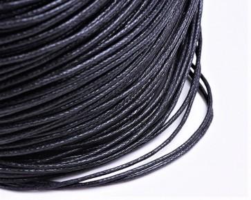 Gewachste Baumwollkordeln, Schmuckkordeln, Wachsbänder, 1mm, schwarz, Meterware