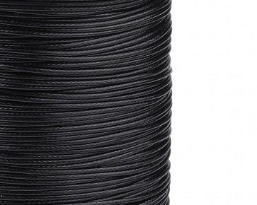 Schmuckkordel Polyesterkordel schwarz gewachst, 1 mm