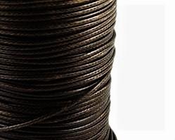 Schmuckkordel Polyesterschnur dunkelbraun gewachst, 1 mm
