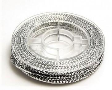 Metallic Makramee Garn, 0.6mm, silber, geflochten, ca. 10m