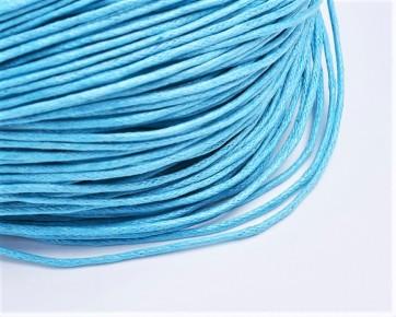 Gewachste Baumwollkordeln, Wachsbänder, 1mm, azurblau, 10m