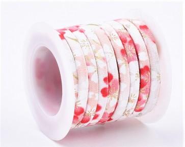 Baumwoll-Schmuckband, 5mm, weiss-rosa, Blumenmuster, 1 m