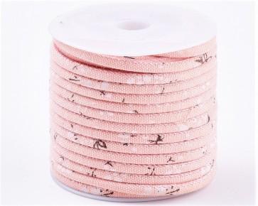 Baumwoll-Schmuckkordel, 3mm, genäht, rosa mit Blumen, 1m