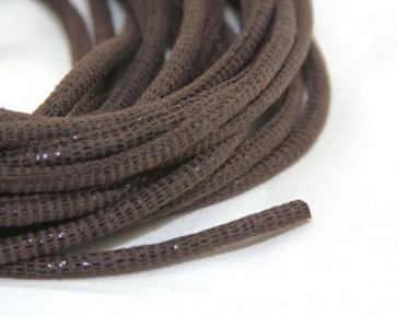Geprägtes Lederband, Lederkordel genäht, 6 x 4.5mm, braun mit Reptilienmuster, 10 cm