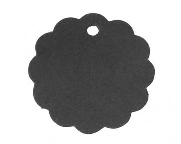 Papieranhänger, Geschenkanhänger, Etiketten, schwarz, rund Wellenrand, 6 cm, 25 Stk.