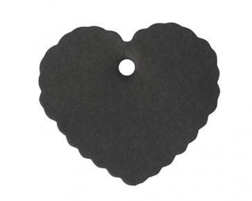 Papieranhänger, Geschenkanhänger, Etiketten, schwarz, Herz Wellenrand, 60 mm, 25 Stk.