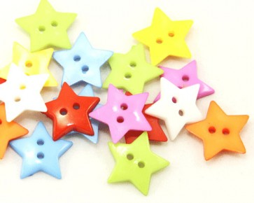 Bunte Kunststoffknöpfe, Sternknöpfe, 18mm, Farbmix, 30 Sterne