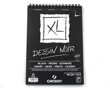 Canson XL Dessin Noir Skizzenblock, DIN A4, 150 g/m², 40 Blatt
