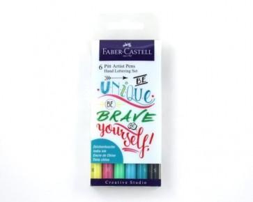 Faber-Castell Tuschestift PITT artist pens, Handlettering Set, 6er Etui