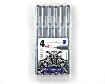 Staedtler Fineliner Pigmentliner, schwarz, Box 4+2 gratis