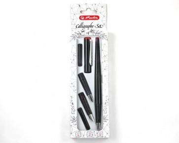 Herlitz Füllfederhalter Kalligraphie-Set, 5-teilig, schwarz