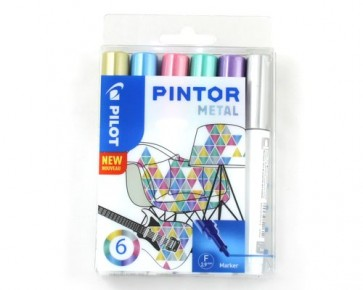 PILOT Pigmentmarker PINTOR 'METAL MIX', fein, 6er Set
