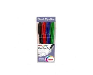 PentelArts Brush Sign Pens Touch Faserschreiber, 4er Set Basic SES15-4