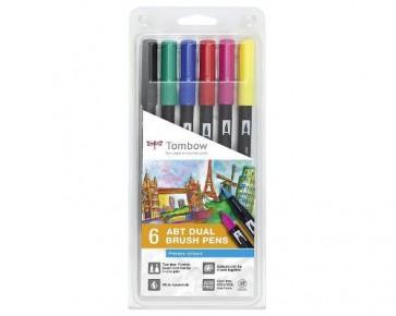 Tombow Dual Brush Pens ABT, Doppelfasermaler Primärfarben, 6er Set