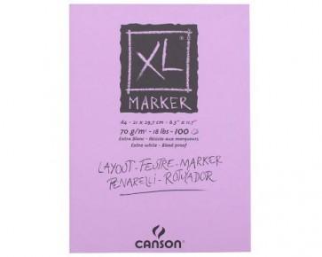 Canson XL Marker Papier, Skizzen- und Studienblock, DIN A4, 70 g/m², extra-weiss, 100 Blatt