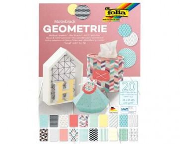 folia Motivpapier Block 'Geometrie' farbig sortiert, 34 x 24cm, 270g/m², 20 Blatt
