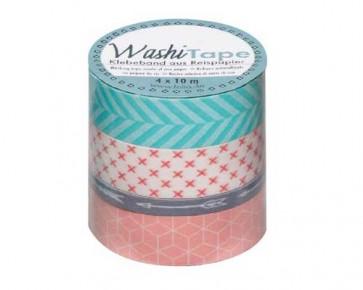 folia Washi-Tape Motiv-Klebeband 'geometrisch', 4er Set