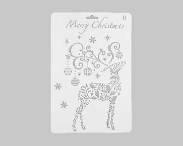 Weihnachts-Schablonen 'Merry Christmas' Rentier, 26x17.5cm