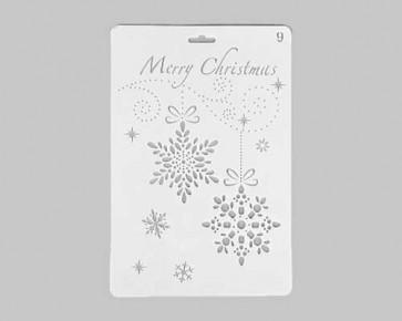 Weihnachts-Schablonen 'Merry Christmas' Schneeflocken, 26x17.5cm