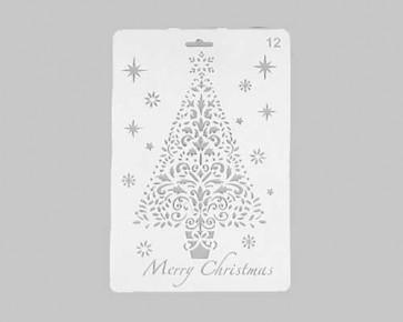Weihnachts-Schablonen 'Merry Christmas' Weihnachtsbaum, 26x17.5cm
