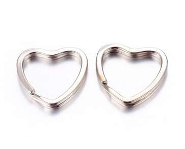 Schlüsselringe in Herzform für Schlüsselanhänger, Taschenanhänger, 31mm, 5 Stk.