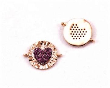 Schmuckverbinder mit Zirkonia, flach rund, rotes Herz, rosé vergoldet, 23x18mm