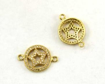 Schmuckverbinder mit Zirkonia, flach rund mit Stern, goldfarbig, 20x14mm, 1 Stk.