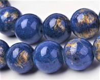 Jade Perlen, rund, lapis-blau / gold gefärbt, 8mm, 1 Strang