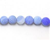 Crackle Achat Perlen, rund, himmelblau gefrostet, 12mm, 1 Strang