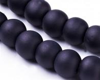 Gefrostete Glasperlen, 4mm, rund, matt schwarz, 100 Stk.