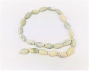 Graugrüner Jaspis, geschwungene Perlen, 20 x 12 mm, 1 Strang
