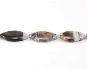 Edelsteinperlen, Botswana-Achat-Perlen, Marquise, 40 x 25 mm, 2 Perlen