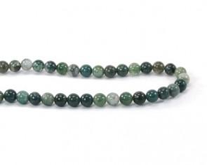Edelsteinperlen, Achatperlen, Moosachat grün, rund, 6 mm, 1 Strang